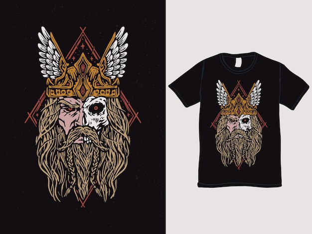 Projekt koszulki z twarzą barbarzyńcy czaszki
