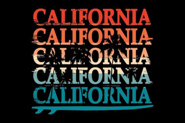 Projekt koszulki z typografią california beach suft w stylu retro