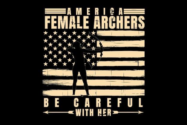 Projekt koszulki z typografią łuczników flaga ameryki vintage