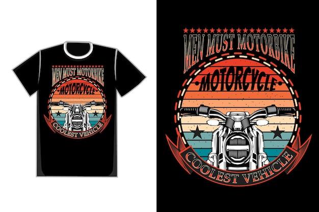 Projekt koszulki z typografią motocyklową sylwetka w stylu retro retro