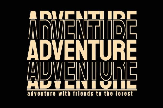 Projekt koszulki z typografią przygodową w stylu vintage forest