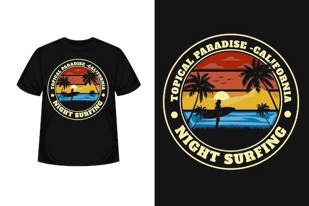 Projekt koszulki z typografią tropikalny raj w kalifornii