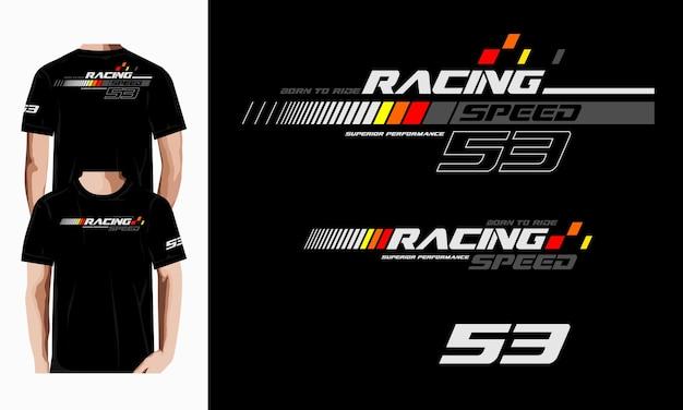 Projekt koszulki z typografią wyścigową premium wektorów