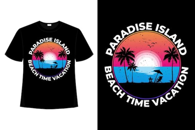 Projekt koszulki z wakacji na plaży rajskiej wyspie vintage retro ilustracji