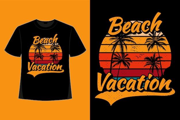Projekt koszulki z wakacji na plaży w stylu tropikalnym retro vintage ilustracji