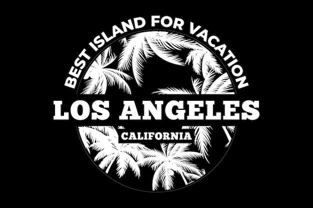 Projekt koszulki z wakacyjną wyspą w kalifornii w stylu vintage
