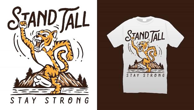 Projekt koszulki z wysokim tygrysem