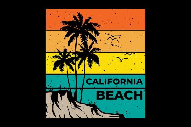 Projekt koszulki z zachodem słońca na plaży w kalifornii w stylu retro vintage