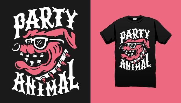 Projekt koszulki ze zwierzętami imprezowymi