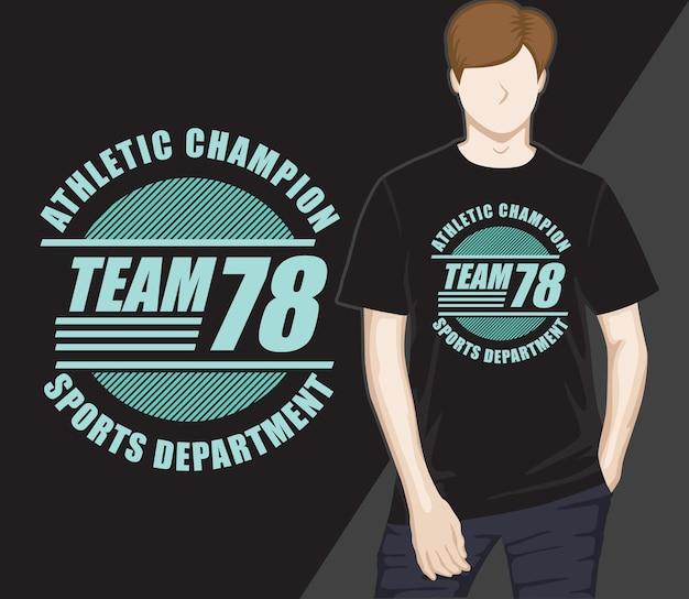 Projekt koszulki zespołu siedemdziesiąt osiem typografii