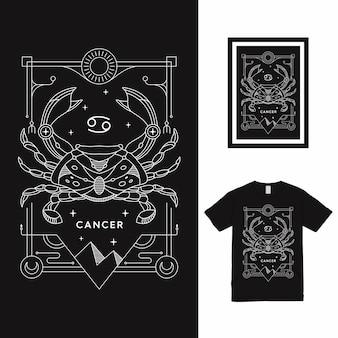 Projekt koszulki zodiaku rak linii sztuki