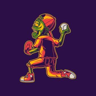 Projekt koszulki zombie przygotowuje się do rzucania piłek w baseball ilustracja