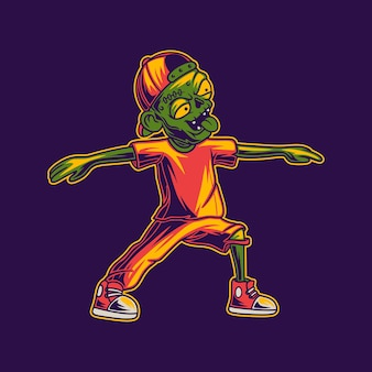 Projekt koszulki zombie z ilustracją jogi poza wojownikiem