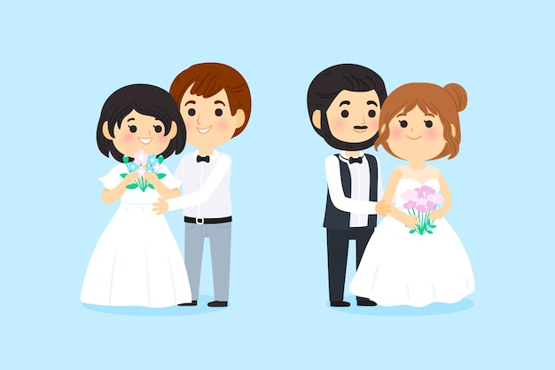 Projekt kreskówka pary ślubne
