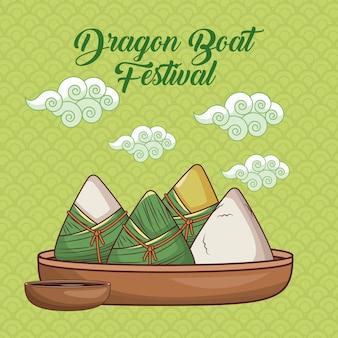 Projekt kreskówki smok łodzi festiwalowej