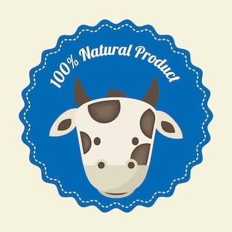 Projekt krowy na białym tle