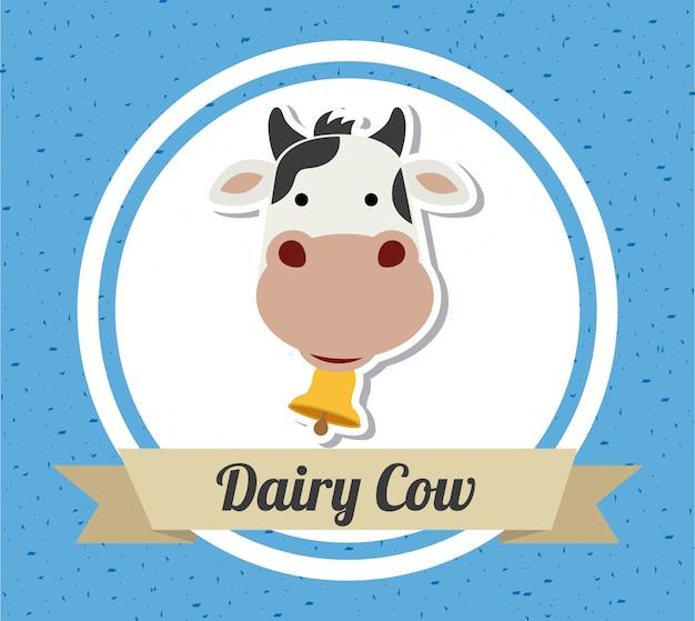 Projekt krowy na niebieskim tle