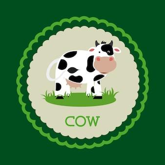 Projekt krowy na zielonym tle