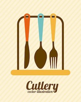 Projekt kuchni na beżowym tle ilustracji wektorowych