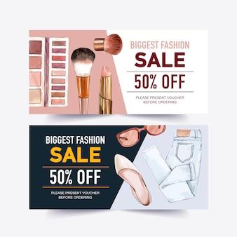 Projekt kuponu moda z kosmetyki, dżinsy, buty, okulary akwarela ilustracja.