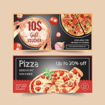 Projekt kuponu pizzy z kiełbasą, serem, bazylią wodną ilustracją