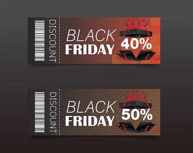 Projekt kuponu rabatowego na czarny piątek. ikona sprzedaży. zakupy.