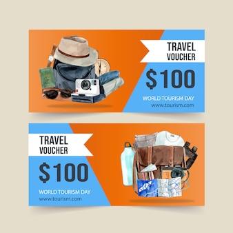 Projekt kuponu turystycznego z aparatem, kapeluszem, torbą, ubraniami, okularami przeciwsłonecznymi.