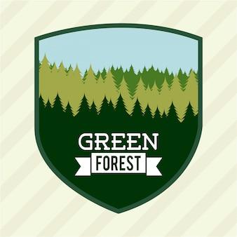 Projekt lasu na białym tle ilustracji wektorowych