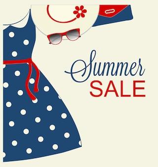 Projekt lato sprzedaży z modnymi niebieskimi ubraniami