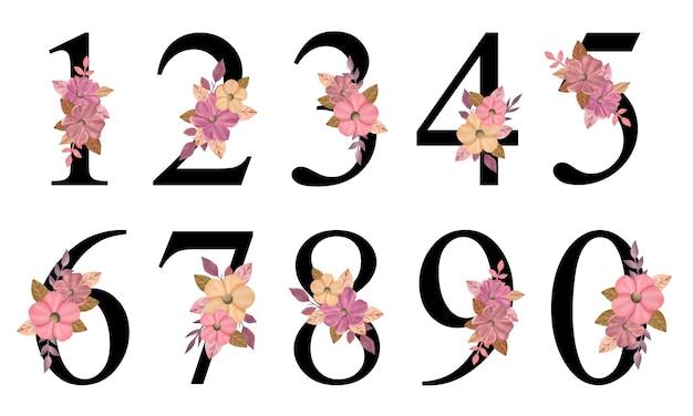 Projekt liczb z ręcznie rysowanym różowym bukietem kwiatów do dekoracji karty zaproszenia