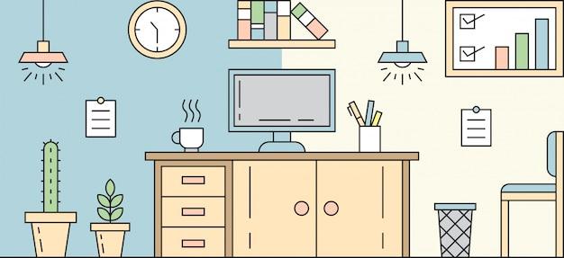 Projekt linii płaskiej w miejscu pracy. prosta, płaska i kolorowa ilustracja. koncepcja pokoju