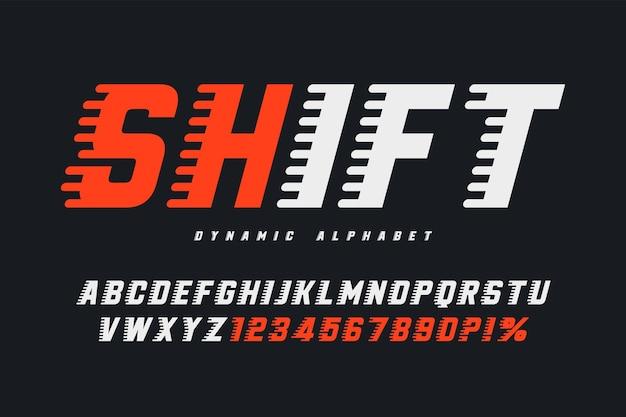 Projekt liter wyścigowych, dynamiczny alfabet, cyfry.