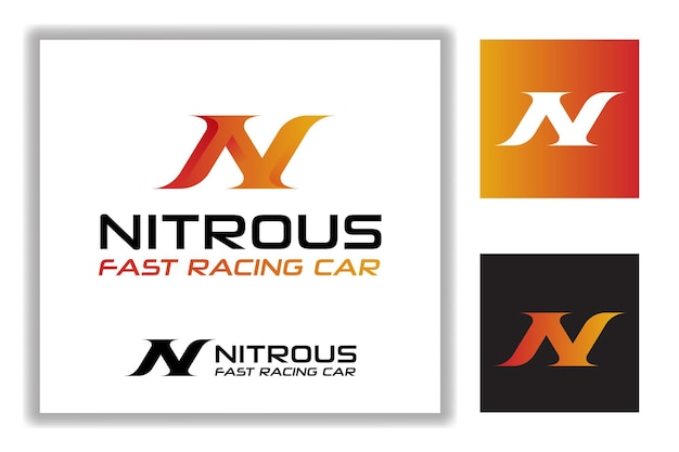Projekt litery n w stylu wyścigów prędkości dla szablonu logo warsztatu samochodu wyścigowego nitrous