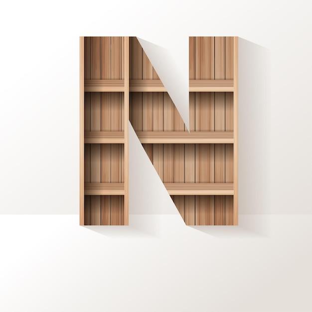 Projekt litery n z drewnianej półki