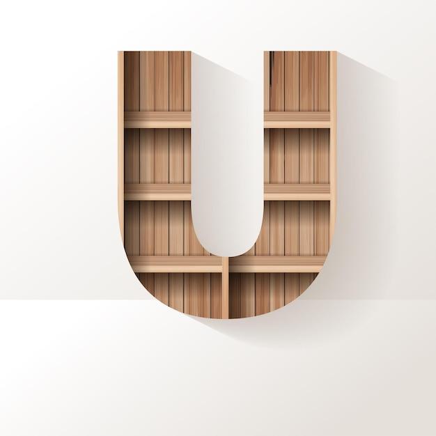 Projekt litery u z drewnianej półki