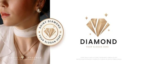 Projekt logo błyszczących diamentowych kamieni