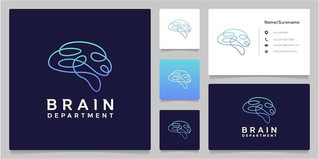 Projekt logo brain tech ciągłej linii z wizytówką