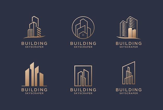 Projekt logo budynku kolekcji dla architektury, budownictwa, nieruchomości, nieruchomości.