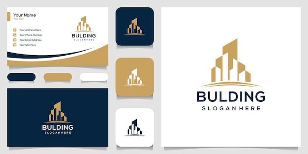 Projekt logo budynku z szablonem logo w kolorze złotym