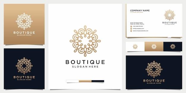 Projekt logo butiku piękności ze stylem grafiki liniowej i projektem wizytówki