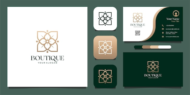Projekt logo butiku z kwiatowym stylem linii i projektem wizytówek premium wektorów