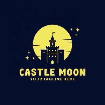 Projekt logo castle z płaskim stylem