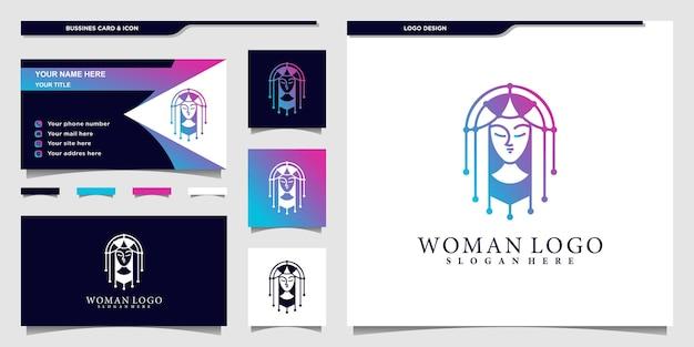 Projekt logo creative woman o unikalnym kształcie i nowoczesnym stylu gradientu dla salonu piękności premium vekto