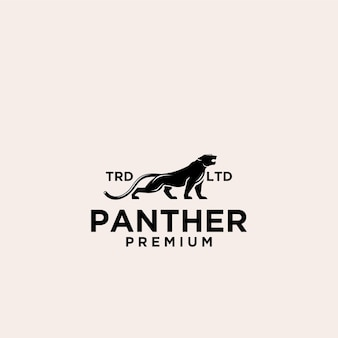 Projekt logo czarnego wektora premium pantera