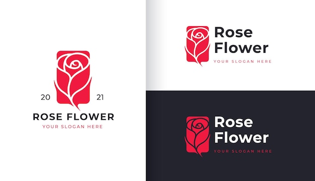 Projekt logo czerwonej róży