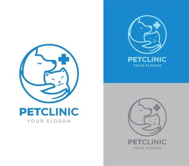 Projekt logo dla kota i psa kliniki dla zwierząt