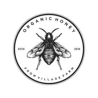 Projekt logo dla produktów miodu lub farm pszczół miodnych