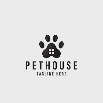 Projekt logo domu dla zwierząt domowych pies kot opieka nad domem dla zwierząt domowych logo wektor