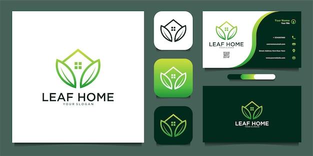 Projekt logo domu liści z linii i wizytówki premium wektorów