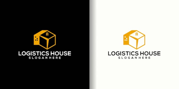 Projekt logo domu logistycznego, kreatywne logo domu i pudełko logistyczne